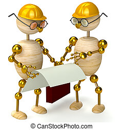 two 3d wood man engineers isolated on white