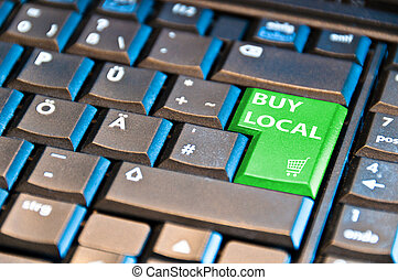 """Ecommerce - Buy Local - computer keyboard with """"buy local""""..."""