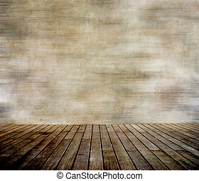 Grunge wall and wood paneled floor, interior of a room