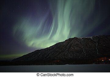 Northern Lights over Mirror Lake near Anchorage AK - Show of...
