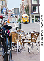 The street scene in Amsterdam, street cafe