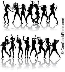 hermoso, Siluetas, mujeres, bailando