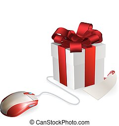 Computer Mouse Gift - Mouse attached to a gift concept....