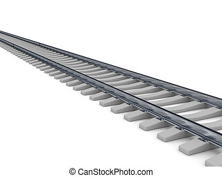 Railroad over white background Computer generated image