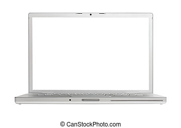 High-end aluminium laptop isolated on white background with...