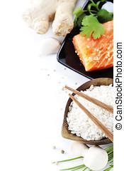 traditional asian ingredients (Fresh salmon steak filet,...