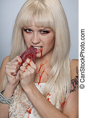 Girl tear raw meat with blood - Savage anti vegetarian girl...