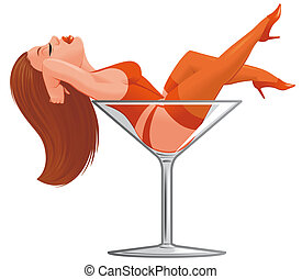 Cartoon pinup in wineglass