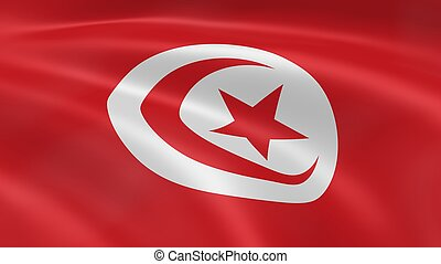Tunisian Flag - Tunisian flag waving in the wind. Part of a...