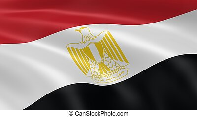 Egyptian Flag - Egyptian flag waving in the wind Part of a...