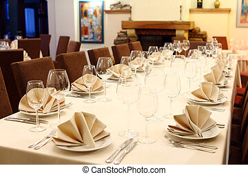 Banquet table with restaurant serving