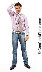 Misunderstanding - A man shows Misunderstanding, wearing...
