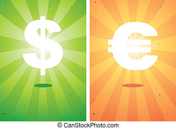 signs the dollar and euro