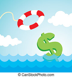 lifebuoy and a dollar sign - Sinking dollar sign and the...