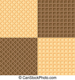 Four seamless background wafers - Vector illustration of...