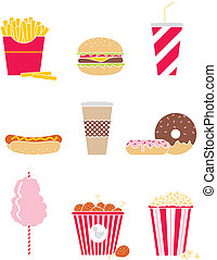 Fast food - Vector set of nine icons fast food