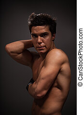 Body builder - Portrait of handsome adult man with big...