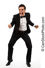 furious business man - furious adult yelling and holding his...
