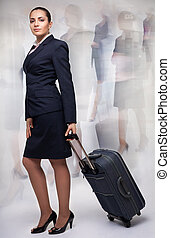 Business woman in motion - Business woman with blurred...