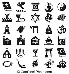 religious symbol - set vector images of religions simbol...