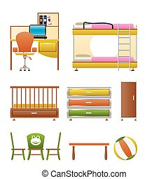 nursery and children room objects, furniture and equipment -...