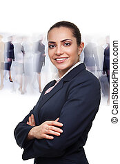 Business woman and busy crowd on the background