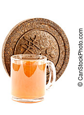Pu-erh tea - Dry Pressed Pu-erh tea is isolated on a white...