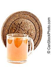 Pu-erh tea - Dry Pressed Pu-erh tea is isolated on a white...