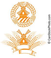 Windmill emblem - Stylized windmill emblem with wheat and...