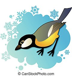 Tit on winter background - Yellow tit on winter background