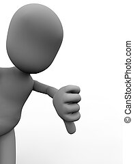 Thumbs down - Human figure with a negative gesture