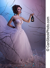 Bride walking whit a lamp in her dream, shoot with both...