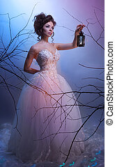 Bride dream walking whit a lantern in - Bride walking whit a...