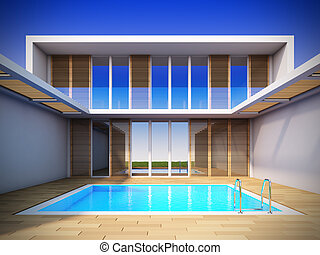 Modern house in minimalist style. - A 3D illustration of...