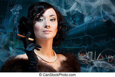 Traveling by train at last century - smoking woman waiting...