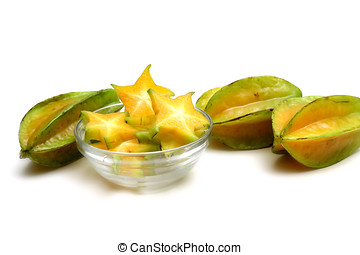 Star Fruit - Star fruit or Carambola,Isolated on white...
