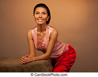Smiling attractive style woman