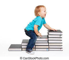 A kid on a steps of books