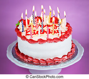 Birthday cake with lit candles - Birthday cake with burning...