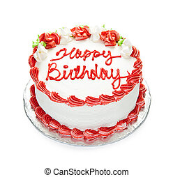 Birthday cake with white and red icing isolated on white