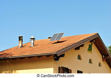 Solar Panel  - Solar panel on roof of house