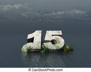 fifteen - the number fifteen at the ocean - 3d illustration