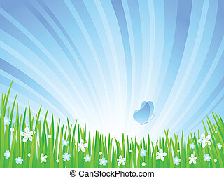 Spring Meadow. - Spring green meadow with flowers and...