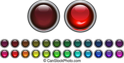 "set of ""on\"" and \""off\"" light - buttons in different..."