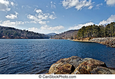Lake View - A view up Lake Glenville in North Carolina on a...