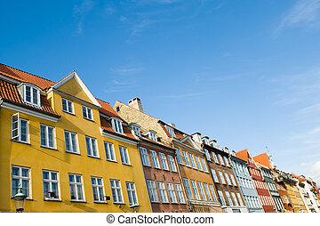 Nyhavn - Buildings in famous Nyhavn in copenhagen denmark