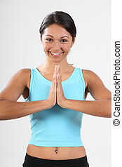 Woman meditate with a smile - Beautiful young woman smiling...