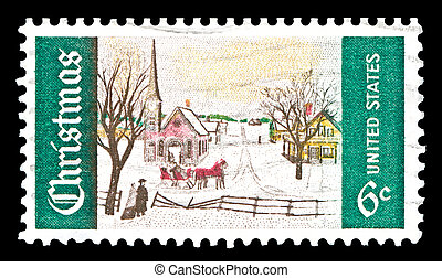 USA-US 1969 Christmas stamp - USA - CIRCA 1969- US Christmas...