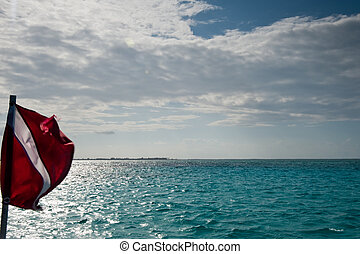 Diver down flag and sky, Grand Cayman
