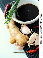 traditional asian ingredients  soy sause, ginger, garlic